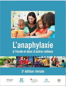 Page couverture de L'anaphylaxie à l'école et dans d'autres milieux, 3e édition
