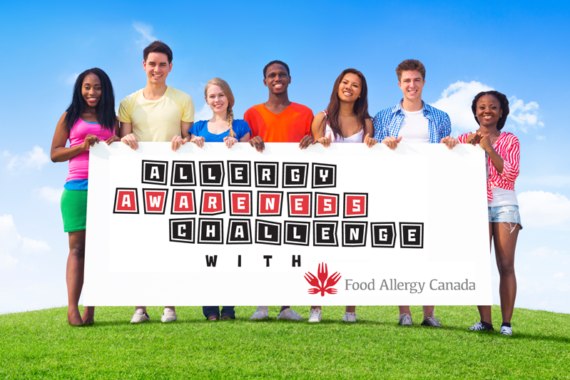 Students holding Allergy Awareness Challenge sign