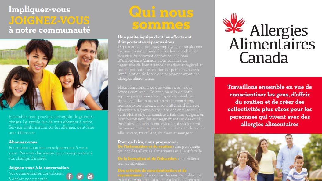 Brochure d'Allergies Alimentaires Canada