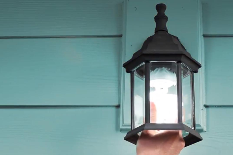 Teal light on porch